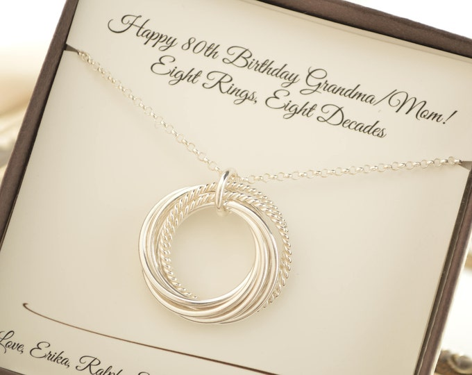 80th Birthday necklace for mom, 8 Rings for 8 decades necklace, 8th Anniversary gift for her, 80th Birthday jewelry, 80th Birthday for women
