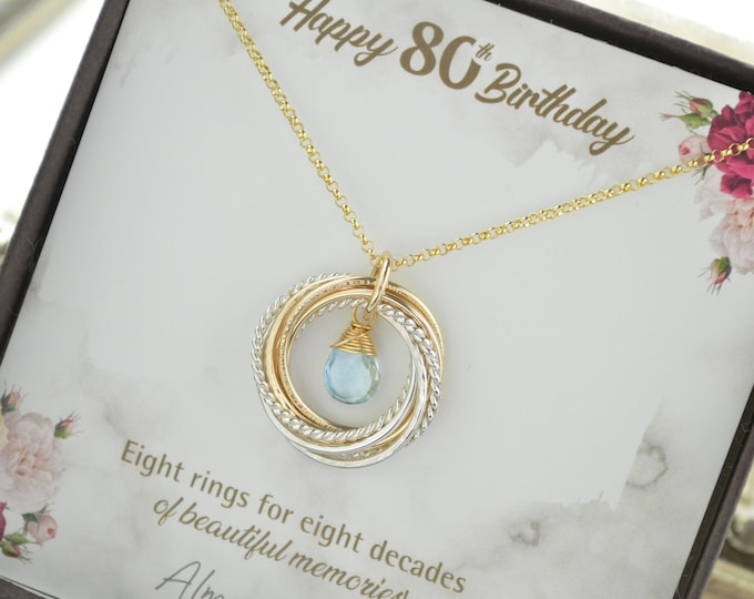 80th Birthday gift for grandma, 8 Rings necklace, 80th Birthday gift for women, Blue topaz birthstone jewelry, 80th Birthday jewelry