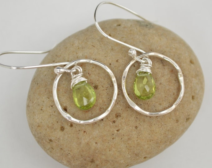 Peridot earrings, Peridot jewelry, August birthstone, Birthday Jewelry, Gemstone earrings, Handmade gemstone, Dangle earrings, Silver