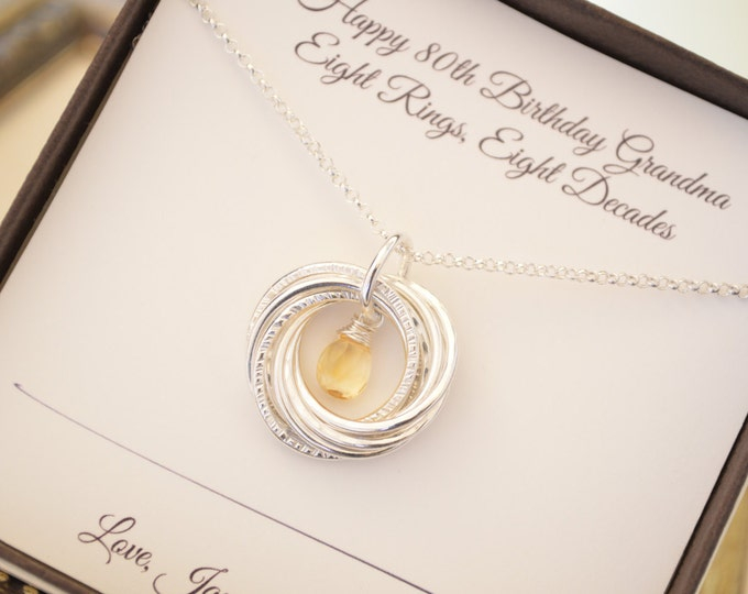 80th Birthday gift for grandmother, 8th Anniversary gift, Citrine birthstone necklace, 80th Birthday jewelry for women, 8 Rings 8 decades