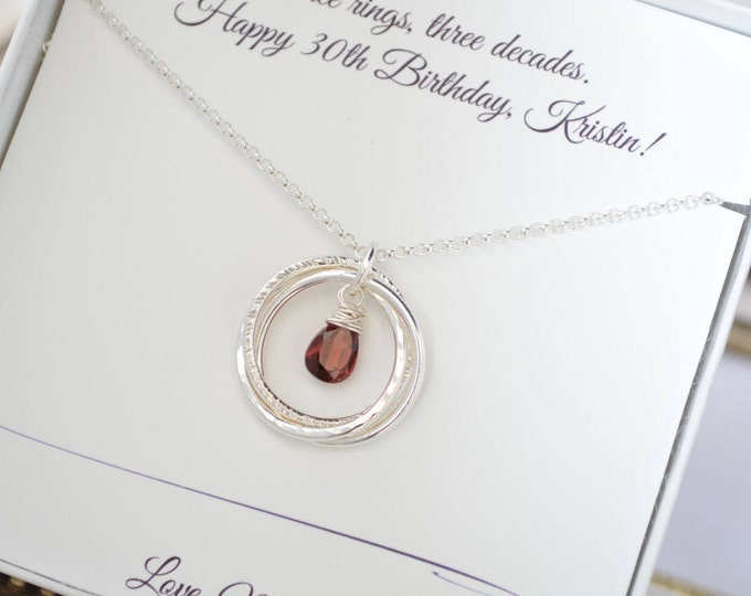 30th Birthday gift for her, 3 Sisters necklace, 3 Best friend necklace, Garnet birthstone, January birthstone necklace, 3rd Anniversary gift