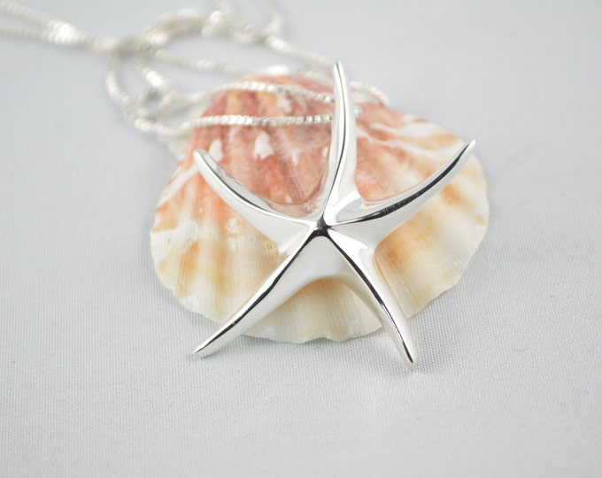 Starfish Silver Necklace, Large Starfish Necklace, Starfish Jewelry, Summer Necklace, Bridesmaid Starfish Necklace,Beach Wedding Necklace