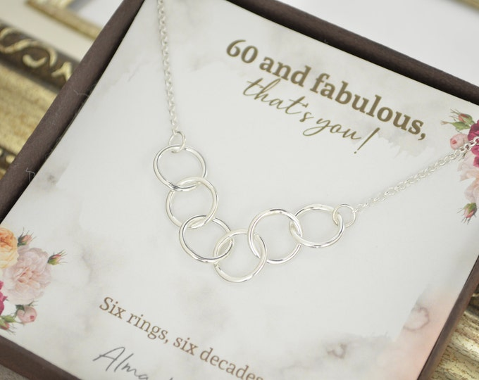 60th Birthday gift mom, 6 Rings 6 decades necklace, 60th Birthday gifts for women, 6 Decade jewelry, 60th Birthday necklace, Birthday gifts