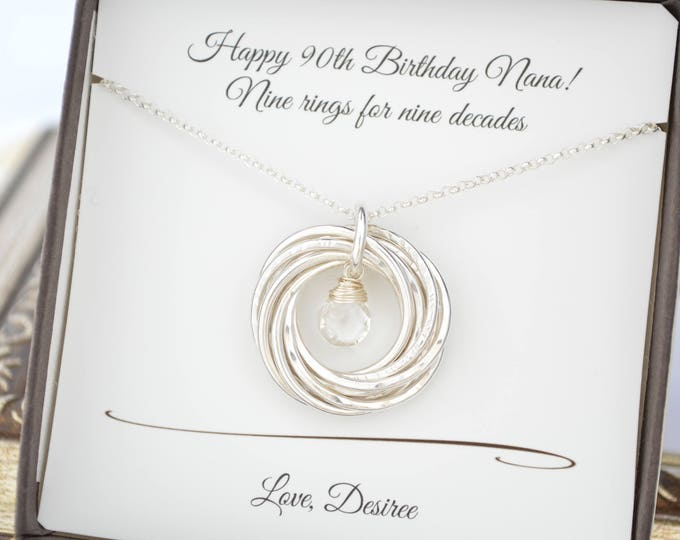 90th Birthday gift for mom and grandma necklace, Gift for mother necklace, 9th Anniversary gift for women, April birthstone necklace