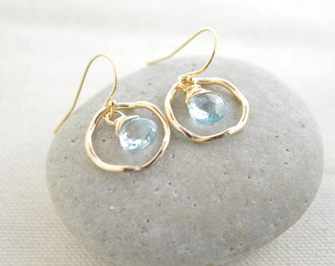 Blue topaz earrings,December birthstone earrings, Gold earrings, Small earrings