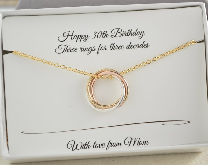 30th Birthday gift for daughter, 3 Sisters necklace, Rose gold necklace, Petite necklace, 3 metals necklace, 3 Rings for 3 decades necklaces