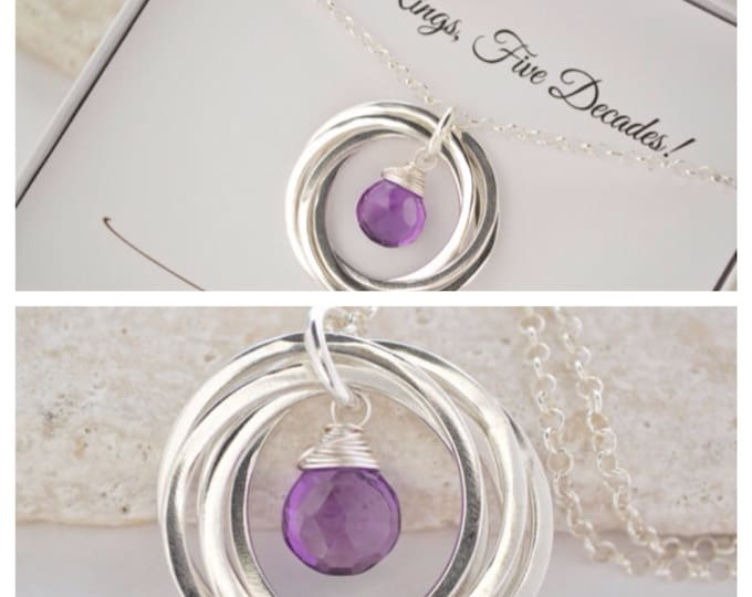 50th birthday gift for wife, 50th birthday gift for women, 5th anniversary gift, Gift for mom, Amethyst necklace, Birthstone jewelry, Sister