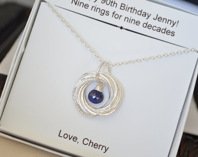 90th Birthday gift for mom Gift for grandma 90th Birthday gift for her Sapphire necklace Mom jewelry, 9th Anniversary for her, 90th birthday