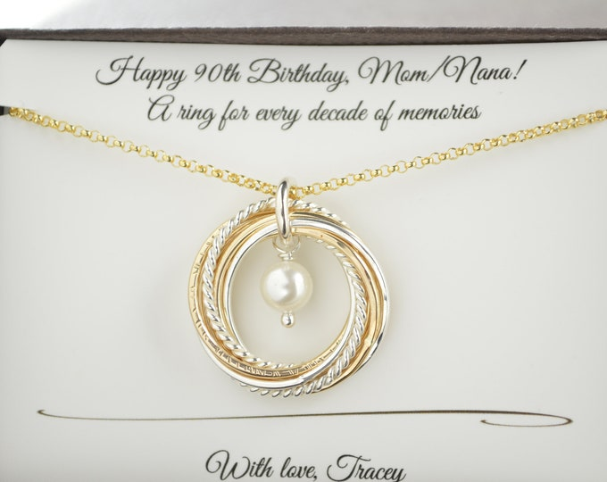 90th Birthday gift for mom and grandma necklace, Gold pearl necklace, June birthstone necklace, 9 Mixed metals necklace, 9th Anniversary