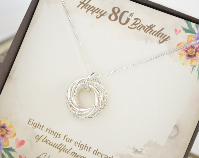 80th Birthday gift for mom, 8 Rings necklace, 80th Birthday jewelry, Dainty necklace, 80th Birthday jewelry, 8 Rings 8 decades necklace