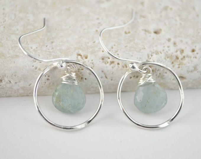 Aquamarine earrings, Blue stone earrings, Dangly earrings, Aquamarine birthstone earrings,March birthstone earrings, Bridesmaid earrings