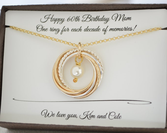 60th Birthday jewelry for mom, Gold pearl necklace, 60th Birthday gift for women, 6 Mixed metal rings, 6th Anniversary gift, 6 Decade gift