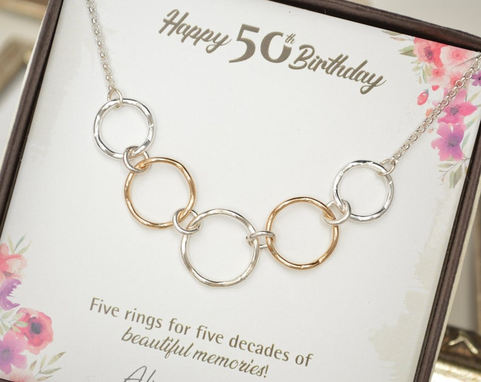 50th Birthday gift for women, Mixed metal rings, 50th Birthday jewelry, 5 Rings necklace, 5 Decade jewelry, 50 Years old, 5 Decade jewelry