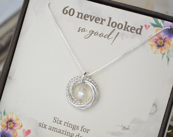 60th Birthday jewelry for women, 6 Decades necklace, 6 Rings for 6 decades, 60th Birthday gift for mom, Dainty necklace, Pearl necklace