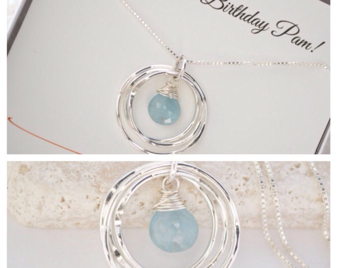 30th birthday gift for daughter, Aquamarine birthstone necklace, March birthstone jewelry, Gift for new mom, Graduation gift, 3 sisters neck