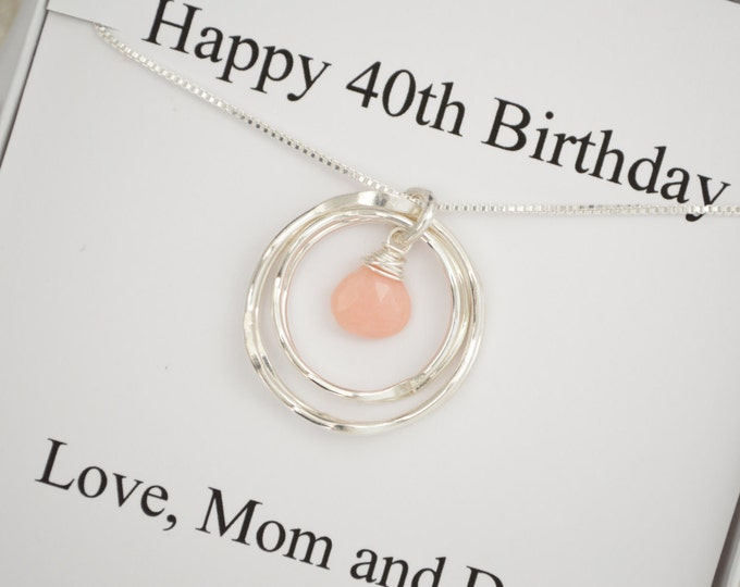 40th Birthday Gift for Her, 40th Birthday Gift for Women, 4 Rings , 4 Sisters Gift, October Birthstone Necklace, 40th Birthday jewelry