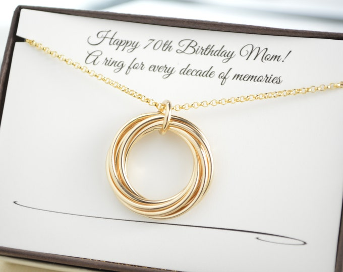 70th Birthday gift for mom and grandma, 7 Gold rings necklace, 7th Anniversary gift for women, 7 Interlocking rings necklace, Gold necklace