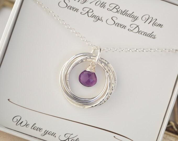 70th Birthday gift for mom and grandma, Amethyst birthstone necklace, February birthstone jewelry, 7th Anniversary gift for women, Birthday