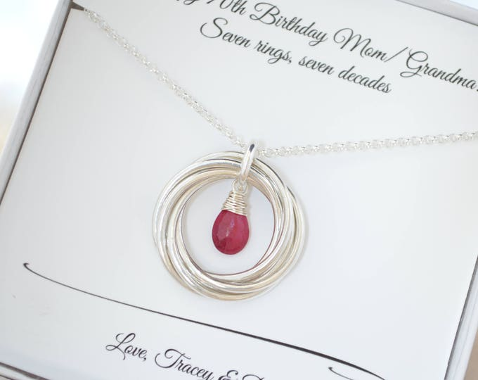 70th Birthday gift for mom and grandma, 70th Birthday for women, Ruby birthstone jewelry, July birthstone necklace, 7th Anniversary gift