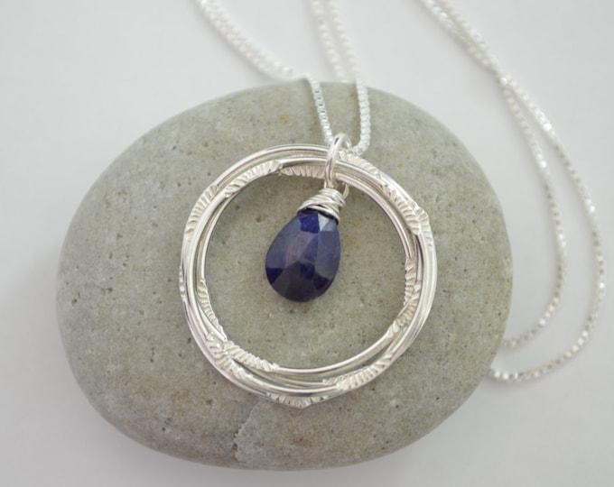 40th Birthday necklace, September birthstone necklace, Sapphire necklace, 40 Birthday gift, Gemstone Jewelry, Best friend gift