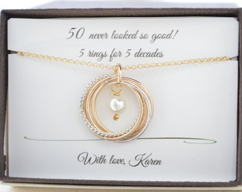 50th Birthday Gift For Women 5 Mixed Metal Interlocking Rings June Birthstone Necklace Gold Pearl 5th Anniversary Her