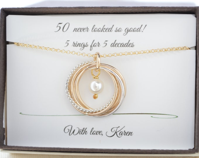 50th Birthday gift for women,  Mixed metal interlocking rings, June Birthstone necklace, 50th Birthday jewelry, 5th Anniversary gifts for he