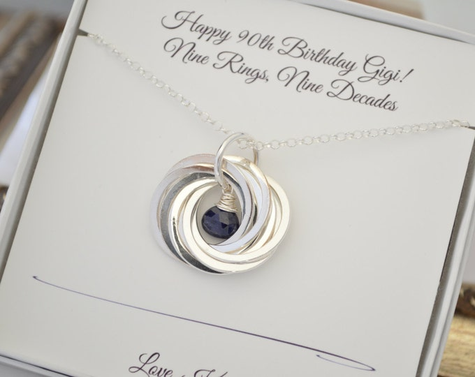90th Birthday gif for grandma, 90th Birthday gift for mom, Gift for grandma, Gift for mom, 9th Anniversary gift, Sapphire necklace,September