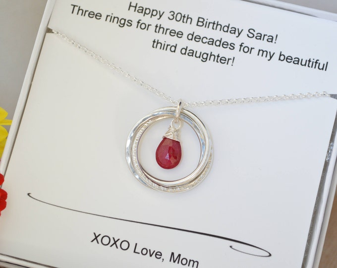 30th Birthday gift for daughter, July birthstone necklace, 3rd Anniversary gift for her, Ruby quartz necklace, 3 Sisters necklace