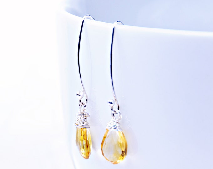 Citrine Crystal Earrings, Citrine Silver Hooks, November Birthstone, Golden Yellow Gemstone Earrings, Bridesmaid Gift, Mom Gift Fiancée Gift