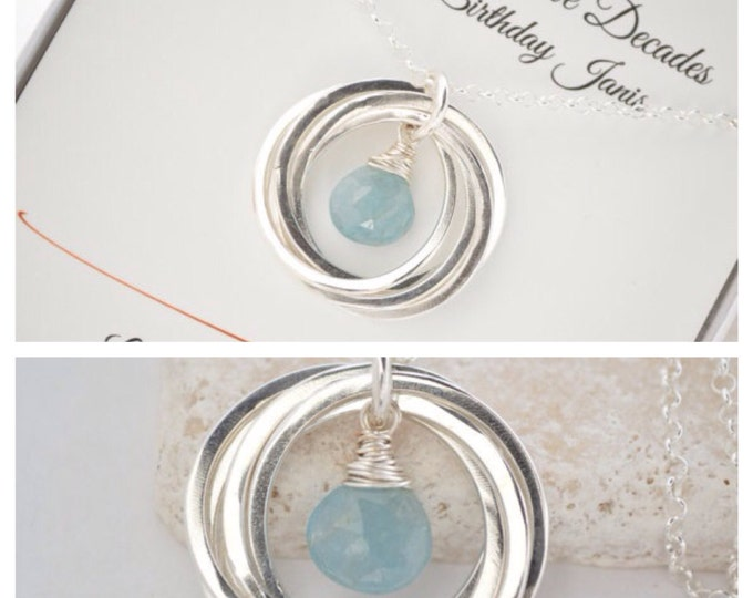 50th Birthday gift for mom, Aquamarine birthstone necklace,Family of 5, March birthstone jewelry, 5 Interlocking rings necklace,Sister gift