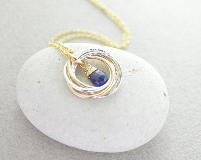 50th Birthday gift for women, 5 Mixed metal rings, Blue sapphire necklace, September birthstone necklace, 5th Anniversary gift for her