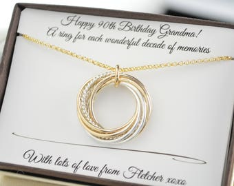 90th Birthday Gift For Mom And Grandmom 9 Interlocking Rings Mixed Metals Necklace 9th Anniversary Women