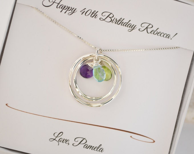 Mothers birthstone necklace, Gift for mom, 40th Birthday gift for mom, Gift for wife