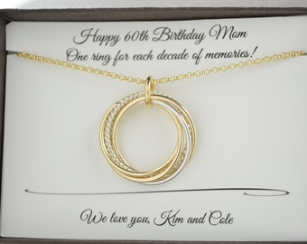 60th Birthday Gift For Mom 6 Mixed Metals Necklace Women 6th Anniversary Her Best Friends