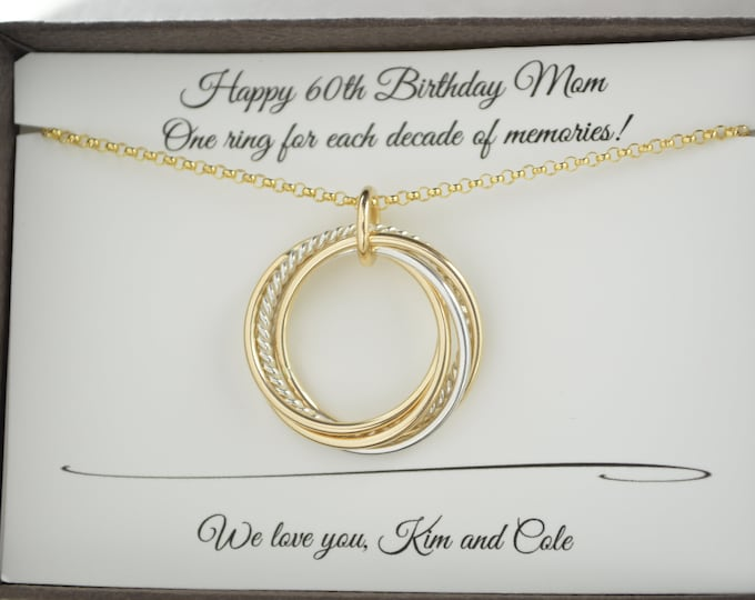 60th Birthday gift for mom, 6 Mixed metals necklace, 60th Birthday gift for women, 6th Anniversary gift for her, 6 Best friends gift