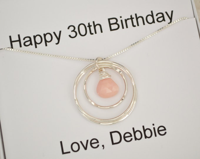 30th Birthday Gift, 30th Birthday Necklace, 3 Sisters Necklace, 3 Rings Necklace, October Birthstone Necklace,Best Friend Necklace,Opal Neck