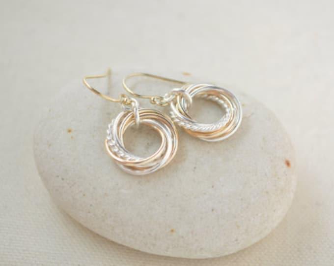 Five Mixed metals rings earrings, 5th Anniversary gift earrings, 50th Birthday gift, 50th Birthday earrings, Mixed metal earrings