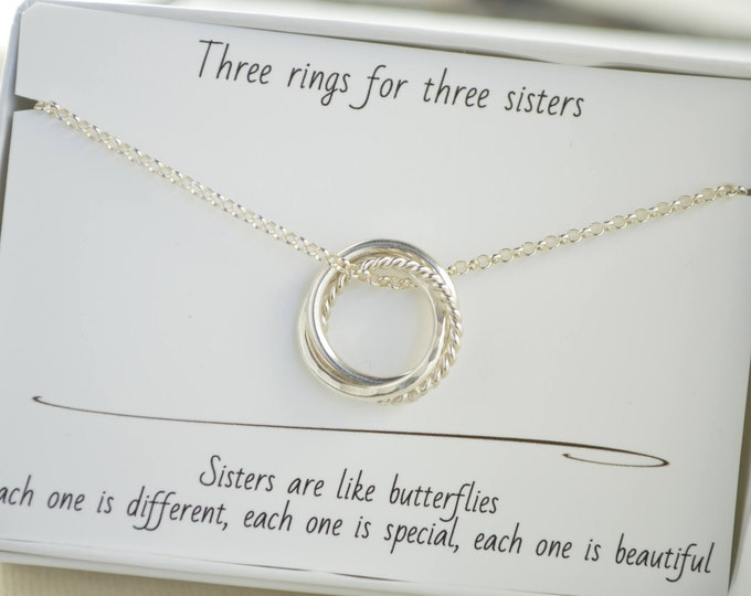30th Birthday gift for daughter, 3 Rings for 3 decades necklace, 3rd  Anniversary gift, 3 Sisters necklace, Petite necklace, 30th Jewelry