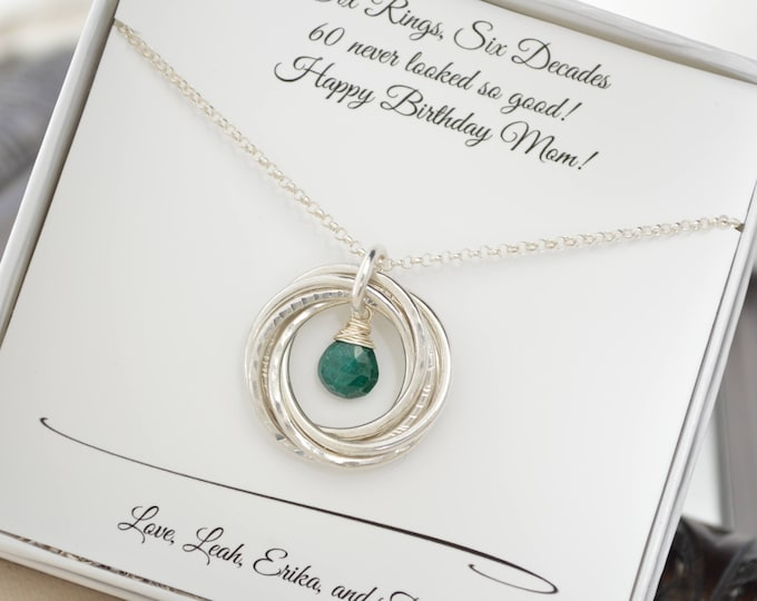 60th Birthday jewelry for mom, May birthstone necklace,  6th Anniversary gift for wife, Emerald birthstone gift, 60th Birthday gift for mom