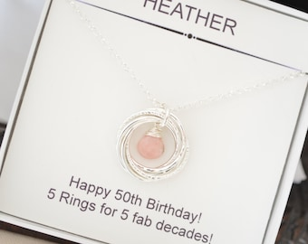 October Birthstone Necklace Gift For Sister Mother 50th Birthday Mom 5th Anniversary Her