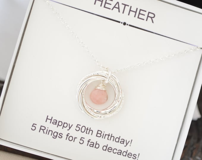 October birthstone necklace, Gift for sister necklace, Gift for mother necklace, 50th Birthday gift for mom, 5th Anniversary for her