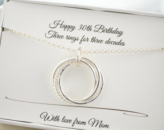 30th Birthday gift for her, 3 Decades necklace, 30th Birthday gift for daughter, 30rd Anniversary gift,Milestone gifts, 3 Rings necklace