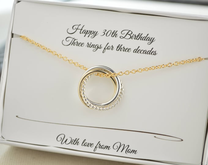 30th Birthday gift for daughter, 30th Birthday jewelry, 3 Rings for 3 decades necklace, 3rd Anniversary gift, 3 Sisters necklace