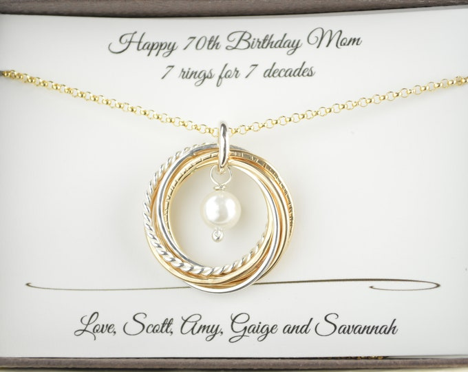 70th Birthday gift for mom and grandma, 7 Anniversary necklace, 7  Mixed metal rings, June Birthstone necklace, Gold pearl necklace