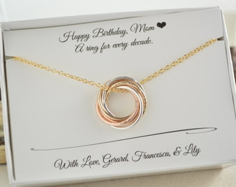 60th Birthday Gift For Mom 6th Anniversary Her 6 Mixed Metals Necklace Rose Gold WomenRussian Style