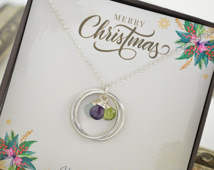 Christmas gift for mom, Birthday gift for her, Family birthstone necklace for mom, Infinity necklace with birthstones, Family necklace