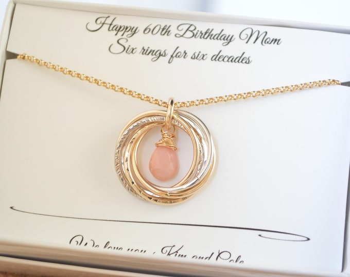 60th Birthday gift for mom, 6 Rings necklace, 6th Anniversary gift, October birthstone necklace, Pink opal necklace, 60 Birthday for women