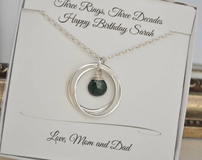 30th Birthday gift for her, 3rd Anniversary gift for wife,May birthstone necklace,Emerald birthstone necklace,3 Sisters necklace, Bestfriend