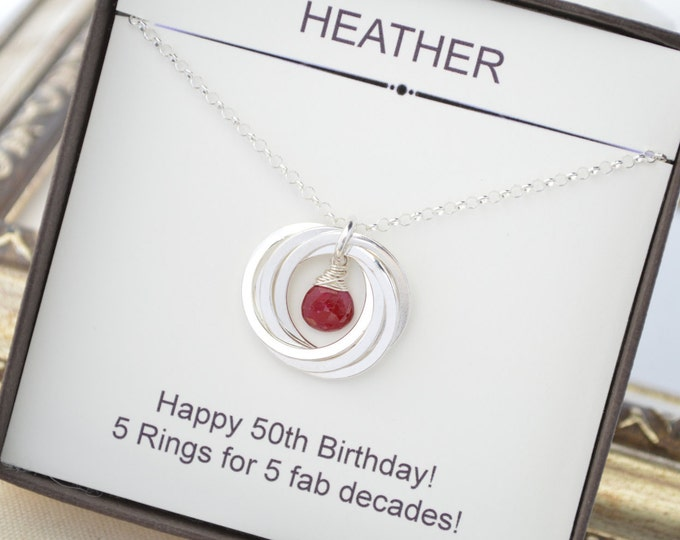 50th Birthday gift for wife, 50th Birthday gift for mom, July birthstone necklace, Ruby quartz necklace, 5 Interlocked rings, Mom Jewelry
