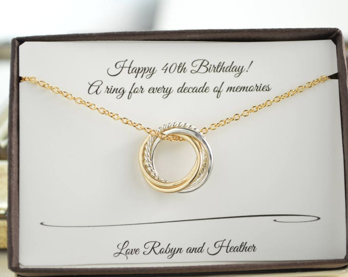 40th Birthday necklace, 4th Anniversary gift, Dainty necklace, 40th Birthday jewelry, 4 Rings 4 decades necklace, 40th Birthday for daughter